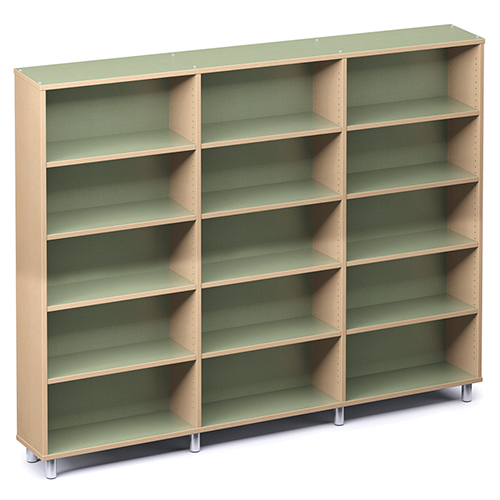 "Russwood® Envision Wood Library Shelving - 72""H, Single-Face, 3 Bay"