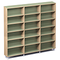 Russwood® Envision Wood Library Shelving - 82H, Single-Face, 3 Bay