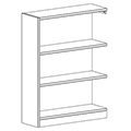 Russwood® Inspire Wood Library Shelving - 48H x 12D Single-Face Adder