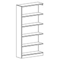 Russwood® Inspire Wood Library Shelving - 72H x 12D Single-Face Adder