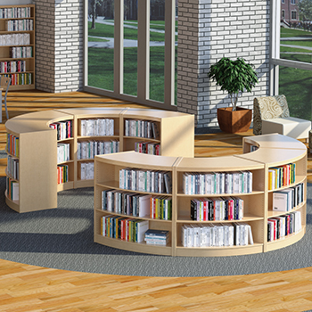 Russwood® Curved Wood Library Shelving