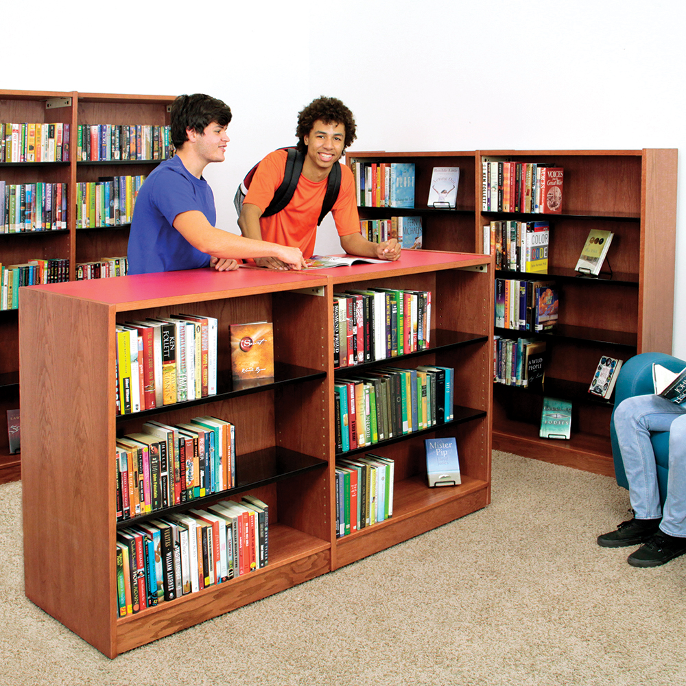 Nautilus™ Wood & Steel Library Shelving - Single-Face