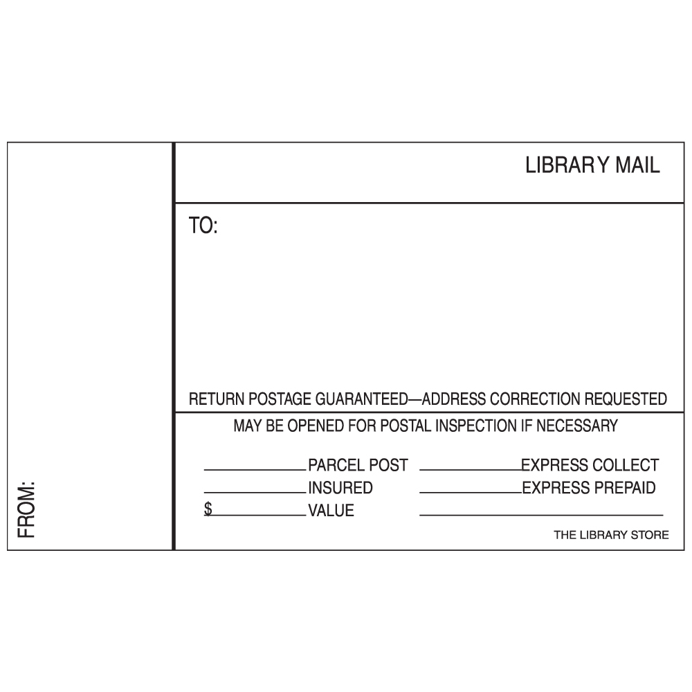 Library Mailing Labels - Plain, 100/Pkg