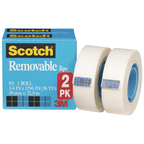"Scotch® 811 Magic™ Removable Tape - 3/4""W x 36 yds., 2 Rolls"