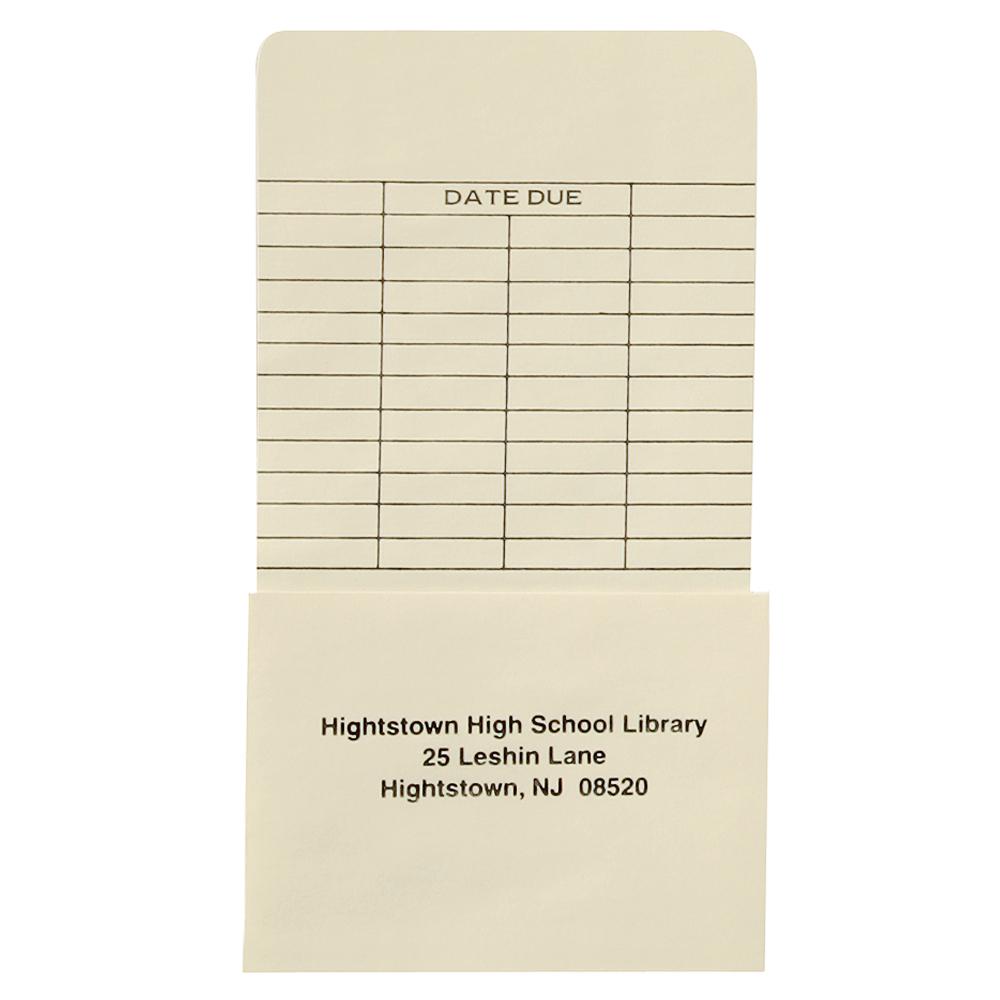 Custom Imprinted Self-Adhesive Book Pockets - High Back, LS Date Grid, 500/Box, 2 Box Minimum