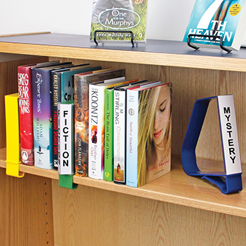Clip On Plastic Book Supports With Shelf Label Holders