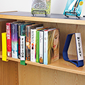 Clip-On Plastic Book Supports with Shelf Label Holders
