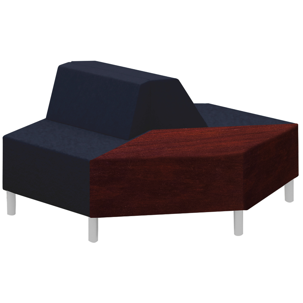 Qube Lounge Seating - 2 Bench with Back and 1 Table