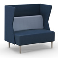 HPFI® Eve Harbor Lounge Seating - Loveseat with K Privacy Panel, Leather