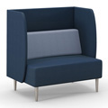 HPFI® Eve Harbor Lounge Seating - Loveseat with D Privacy Panel, Leather