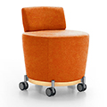 JSI Collective Motion Lounge Seating - Mobile Stool with Backrest, Fabric