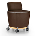 JSI Collective Motion Lounge Seating - Mobile Stool with Backrest, Leather