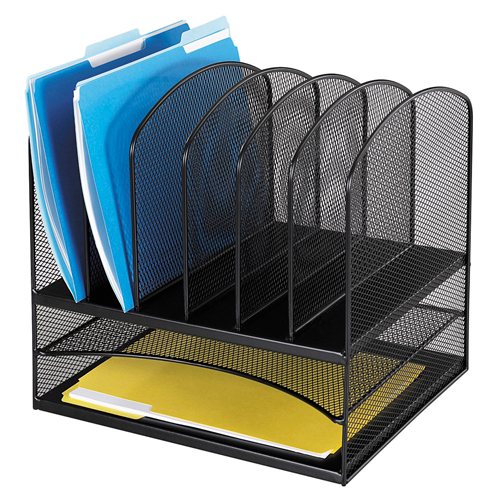 SAFCO® Onyx™ Mesh Desk Organizer - 2 Horizontal 6 Upright Sections