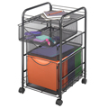 SAFCO® Onyx Mesh File Cart with 3 Drawers