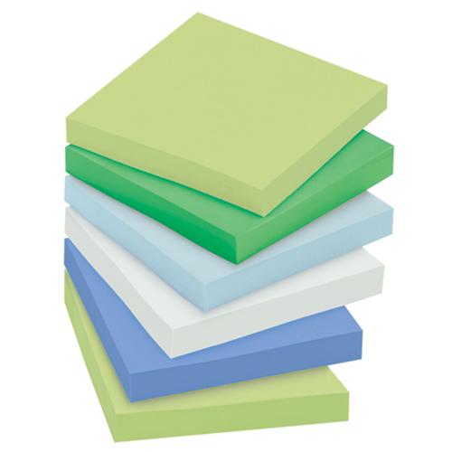 """Post-it® Super Sticky Recycled Notes - Bora Bora Colors - 3""L x 3""W, 12 Pads/Pkg"