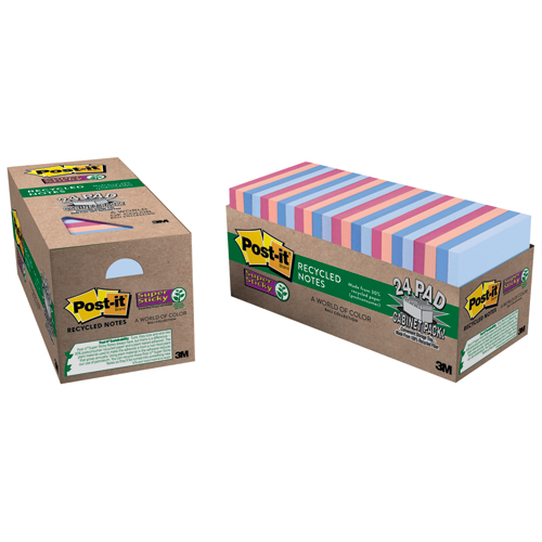 Post-it® Super Sticky Recycled Notes Cabinet Pack - Bali Colors - 3 x 3, 24 Pads/Box