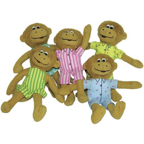 "Five Little Monkeys Finger Puppet Set - 5"" H"