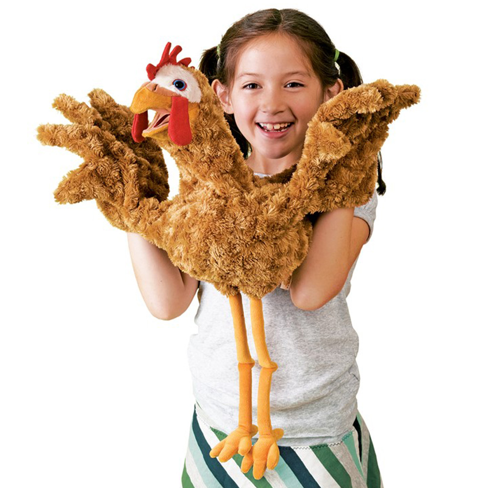 "Red Chicken Two-Handed Puppet - 22"" H"