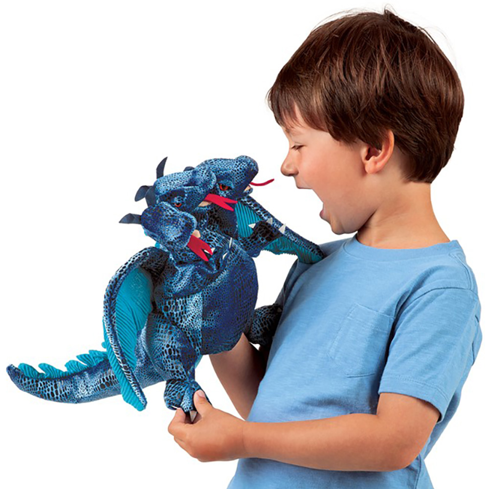 Folkmanis® Three-Headed Blue Dragon Hand Puppet