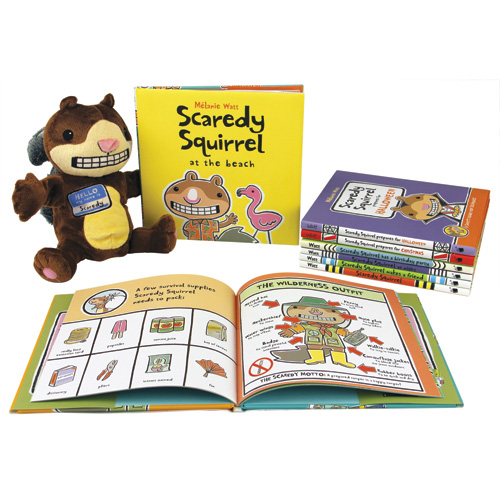 Scaredy Squirrel 5 Books and Puppet Set