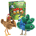 Three Hens and a Peacock Book and 2 Puppets Set