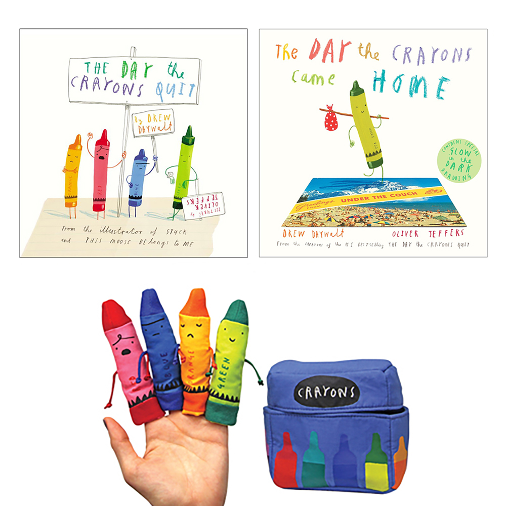 The Crayons Books and Finger Puppet Set