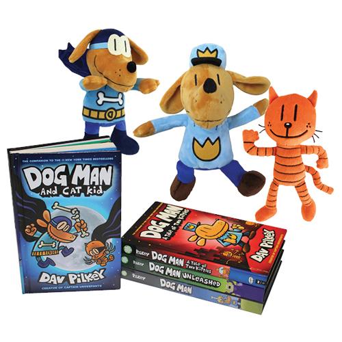Dog Man Graphic Novel 8 Book Set and DollsNew!