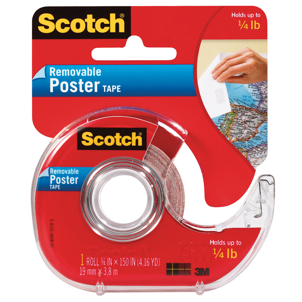 Scotch® Removable Poster Tape - 3/4 in.W x 4 yds.