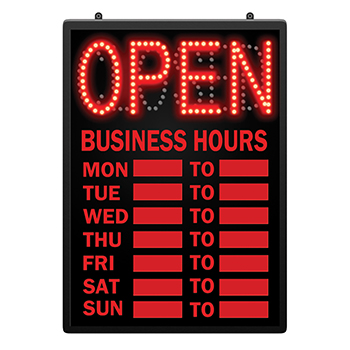 message centers led signs led open closed sign with business hours. Black Bedroom Furniture Sets. Home Design Ideas