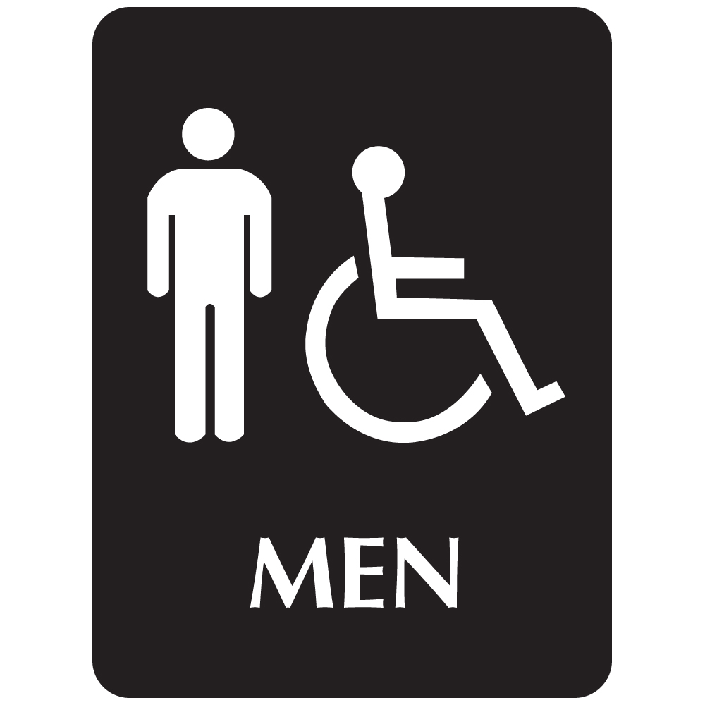 Black ADA Compliant with Braille Sign - MEN (Wheelchair Accessible)