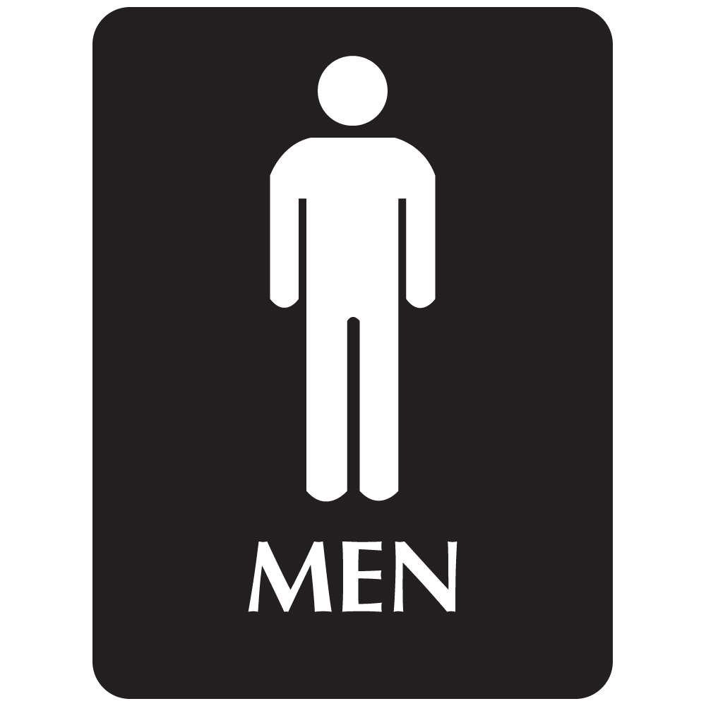 Black ADA Compliant with Braille Sign - MEN