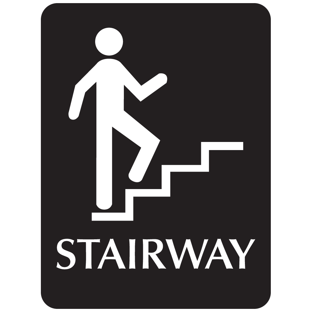 Black ADA Compliant with Braille Sign - STAIRWAY