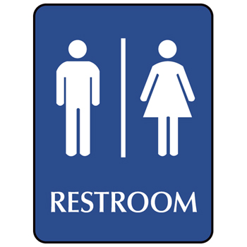 Ada signs blue ada compliant sign restroom unisex for Unisex handicap bathroom sign