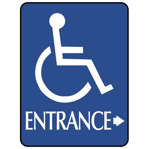 Blue ADA Compliant with Braille Sign - ENTRANCE (Arrow Right >)