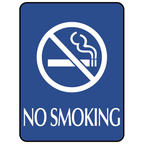 Blue ADA Compliant with Braille Sign - NO SMOKING