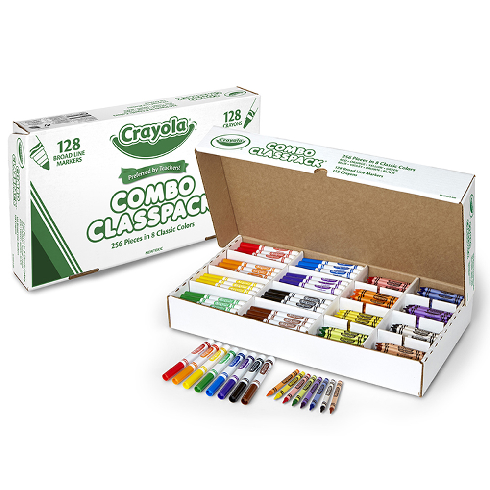 Crayola® Crayons and Markers Combo Classpacks® - 8 Colors (256/Box)