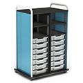 Paragon A & D® Crossfit Storage Double Tower with Open Front - 14 Totes, 4 Shelves
