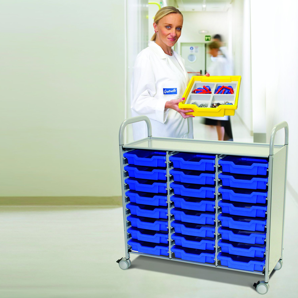 Gratnells® Callero Triple Storage Cart - 24 Shallow Trays