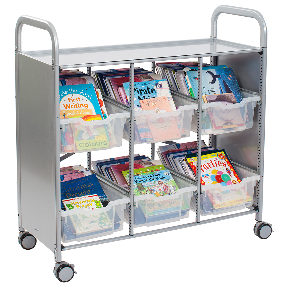 Gratnells® Callero Triple Storage Cart - Library Unit - 6 Deep Trays