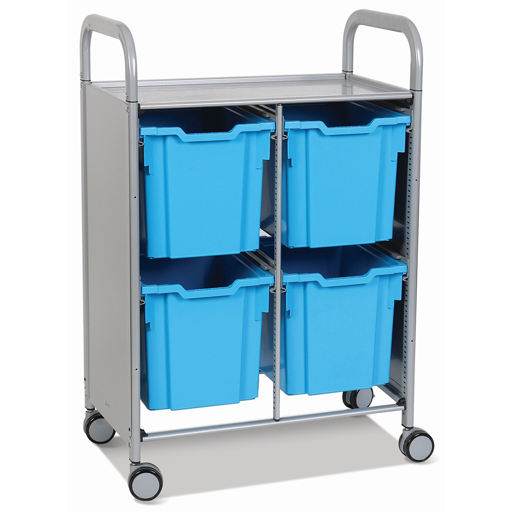 Gratnells® Callero Double Storage Cart - 4 Jumbo Trays