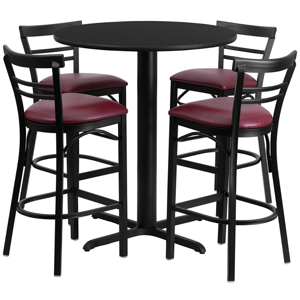 "24"" Round Cafe Table with 4 Ladder Back Chairs with Burgundy Vinyl Seats"