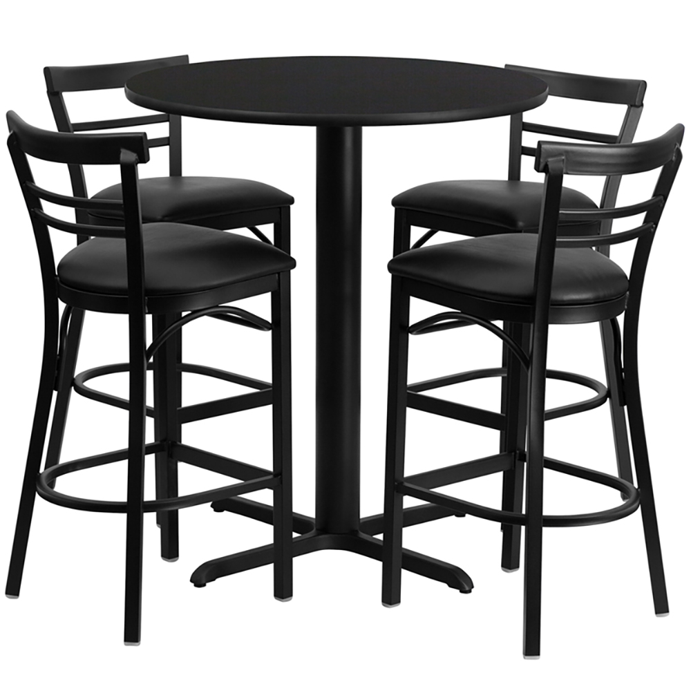 """24"""" Round Cafe Table with 4 Ladder Back Chairs with Black Vinyl Seats"""