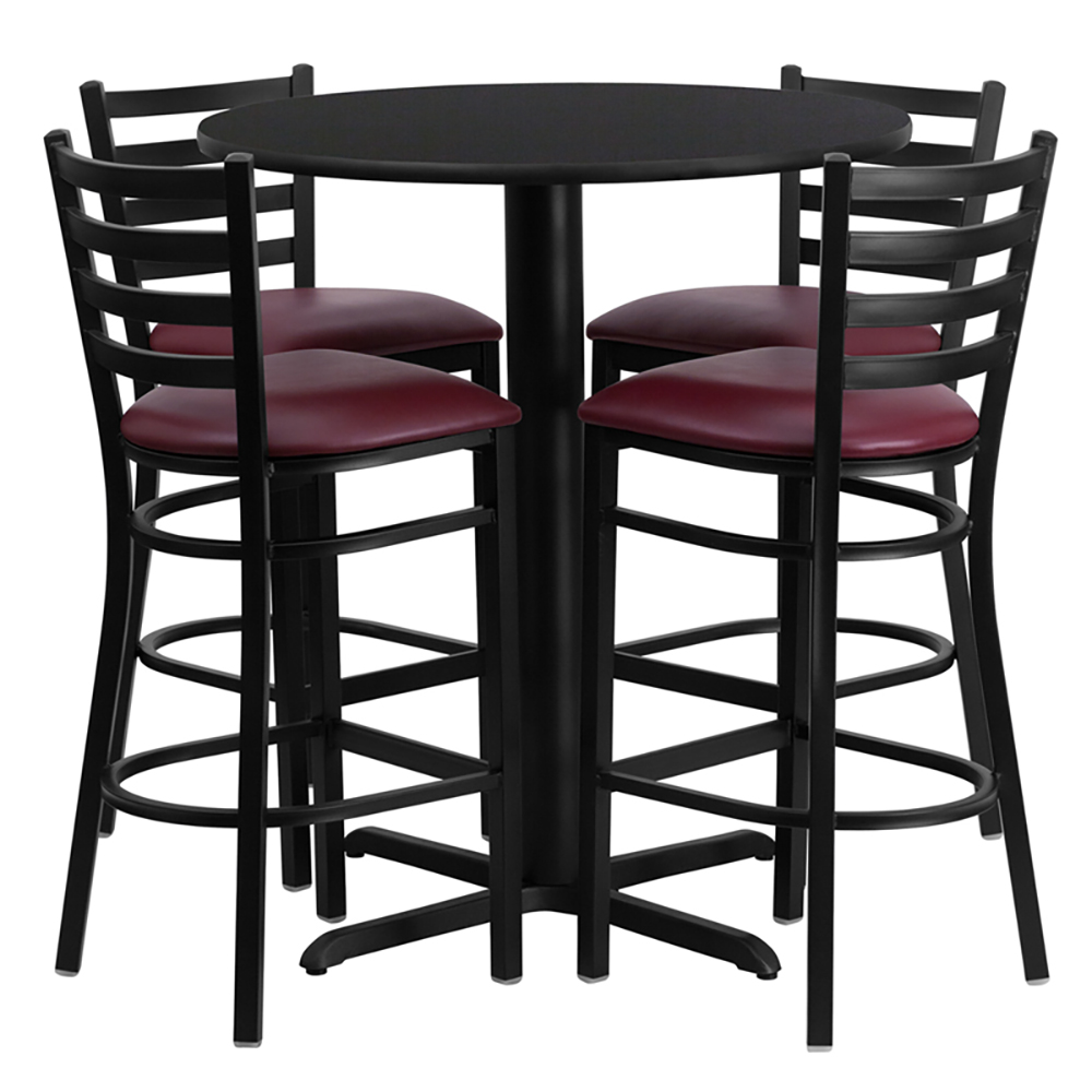 "30"" Round Cafe Table with 4 Ladder Back Chairs with Burgundy Vinyl Seats"