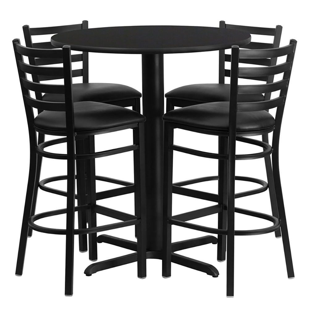 """30"""" Round Cafe Table with 4 Ladder Back Chairs with Black Vinyl Seats"""