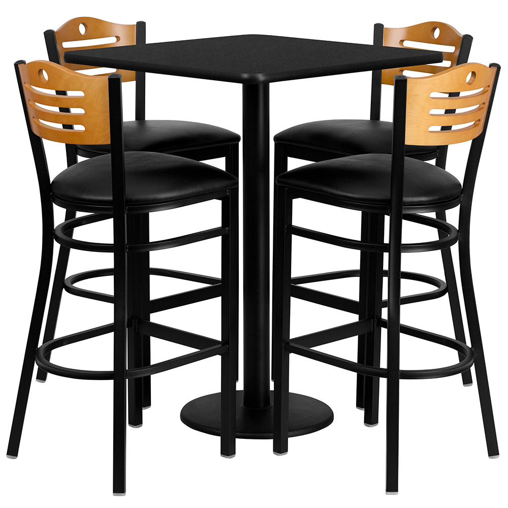 """Hercules 30"""" Square CafeTable & Slat Back Cafe Chair Set"""