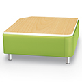 MooreCo®Modular Soft Seating Collection - Square Corner Bench with Laminate Top, Fabric