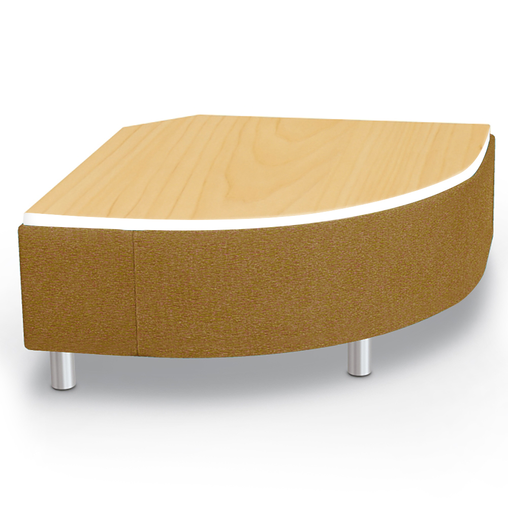 MooreCo® Modular Soft Seating Collection - Round Corner Bench with Laminate Top, Fabric