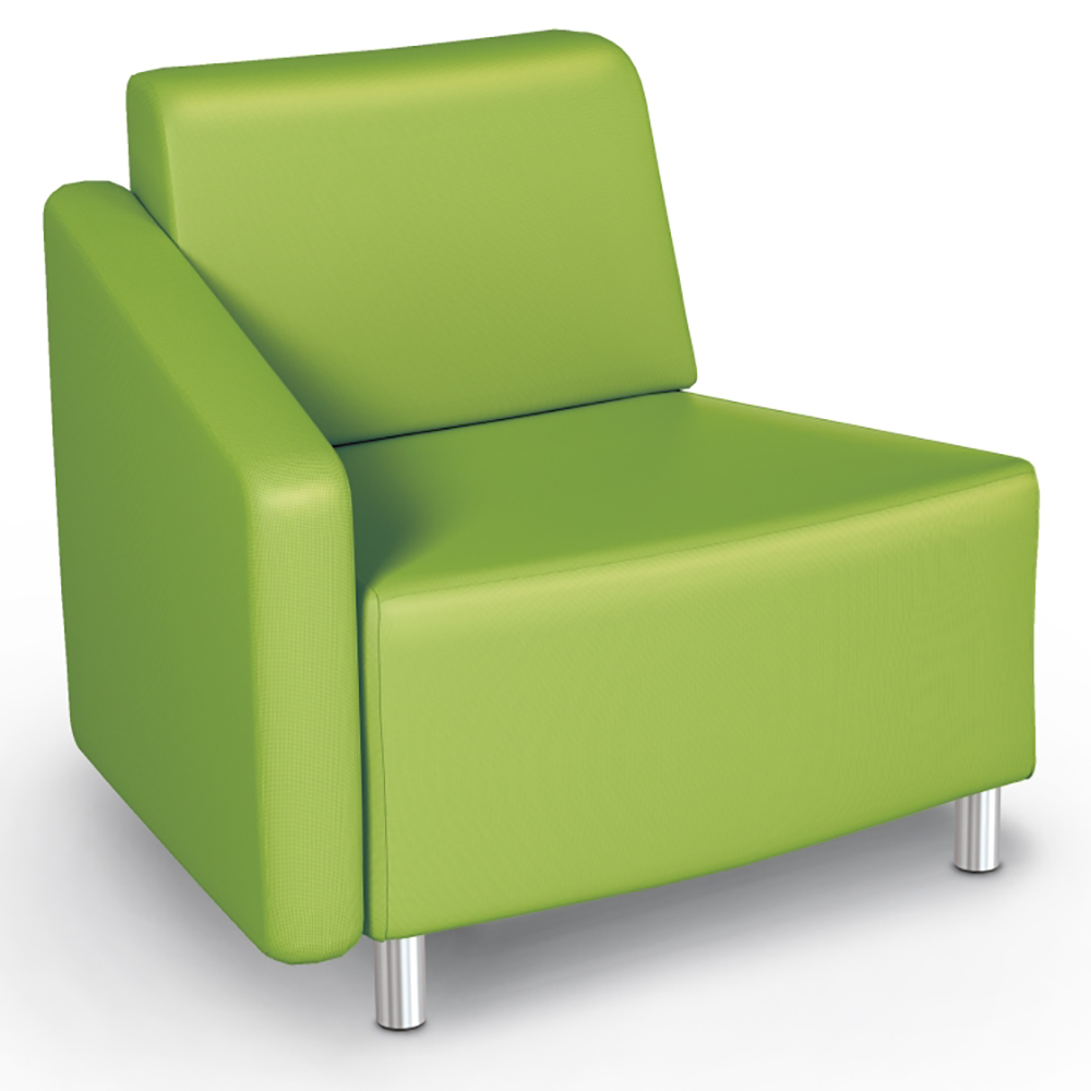 MooreCo® Modular Soft Seating Collection - 22.5° Wedge Outside Right Arm Chair, Fabric
