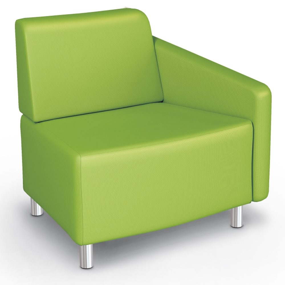 MooreCo® Modular Soft Seating Collection - 22.5° Wedge Outside Left Arm Chair, Fabric