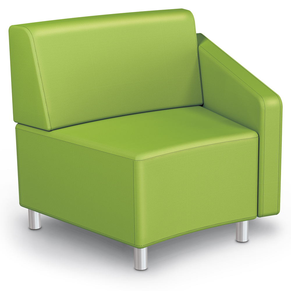 MooreCo® Modular Soft Seating Collection - 22.5° Wedge Inside Left Arm Chair, Fabric